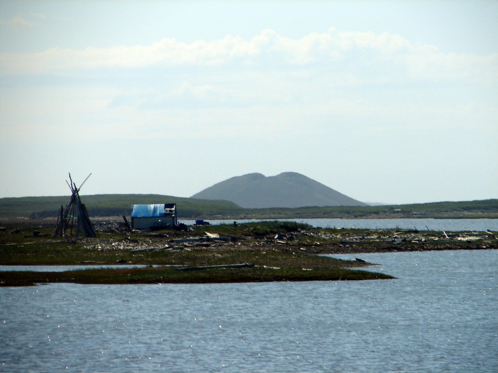 Smoke house and pingo in Tuktoyaktuk Northwest Territories